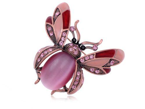 Rosa perla rosa Crystal Rhinestone mariquita insecto de la mosca de traje de moda broche [ joyas ]