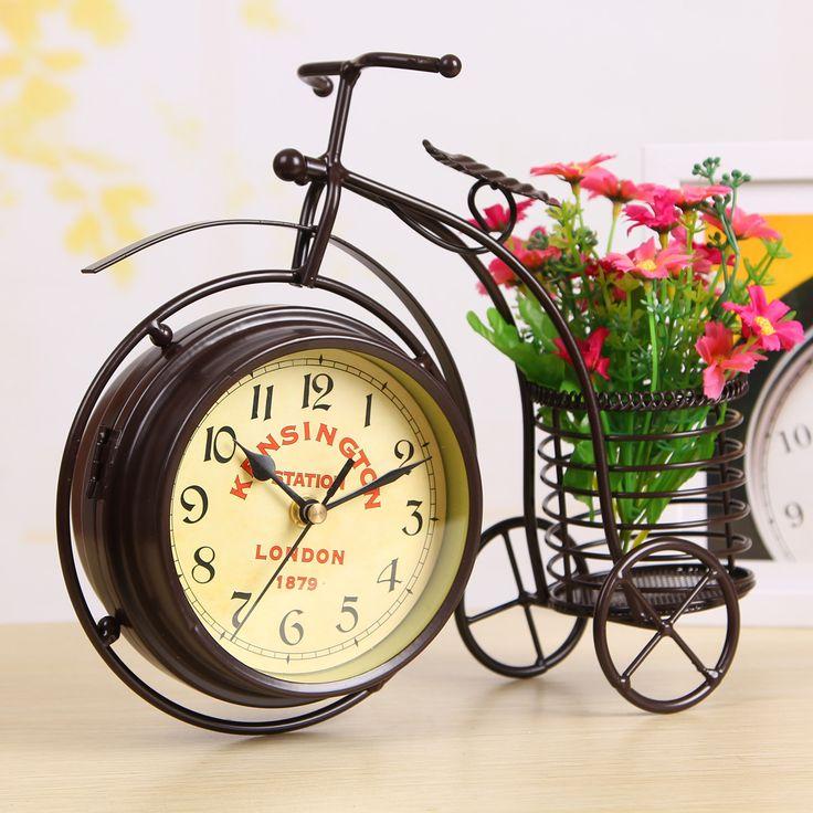 Avrupa tarzı yaratıcı yuvarlak ferforje saat ev dekorasyon hayır ticking ses masa saati ile bisiklet şekli çiçek sepeti(China (Mainland))