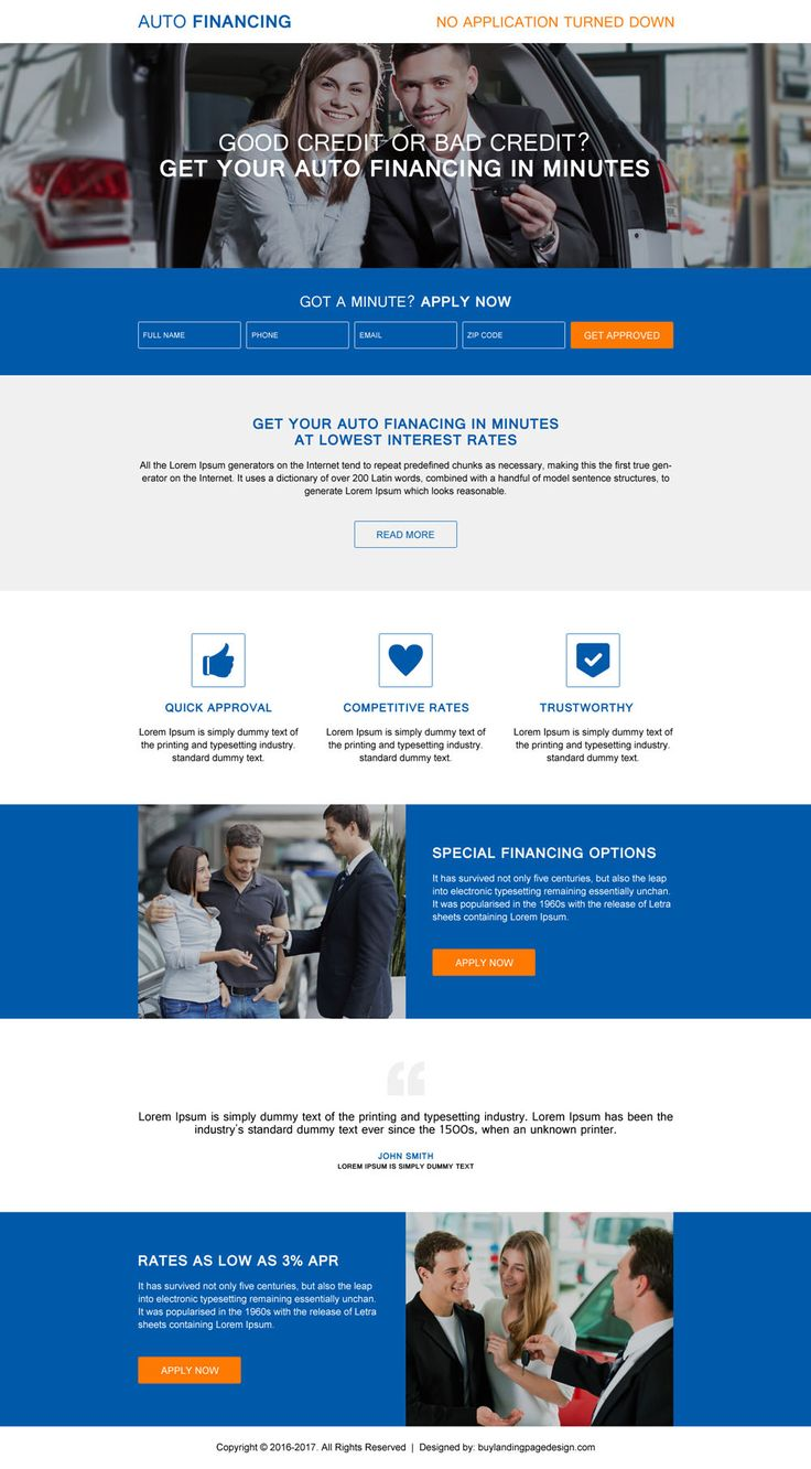 get your auto financing in minutes responsive landing page