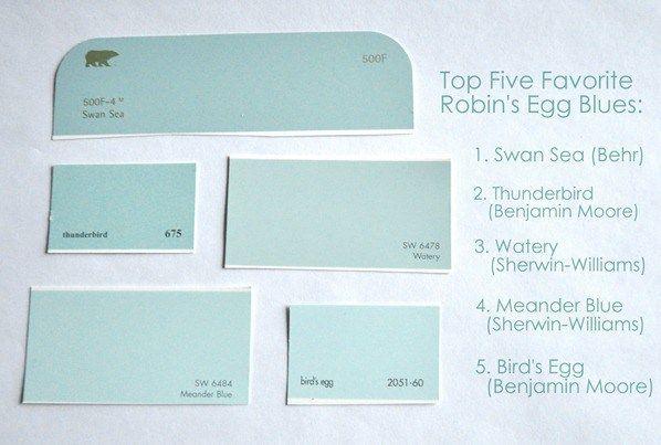 top five robins egg blue paint colors