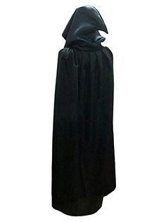 Damen Herren Halloween Umhang Karneval Fasching Kostüm Cape mit Kapuze Schwarz