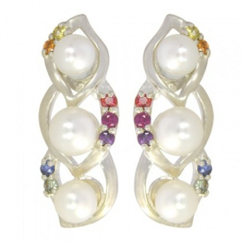 Rainbow Sapphire & Pearl Antique Style Earring $170 #earrings #jewelry #pearls