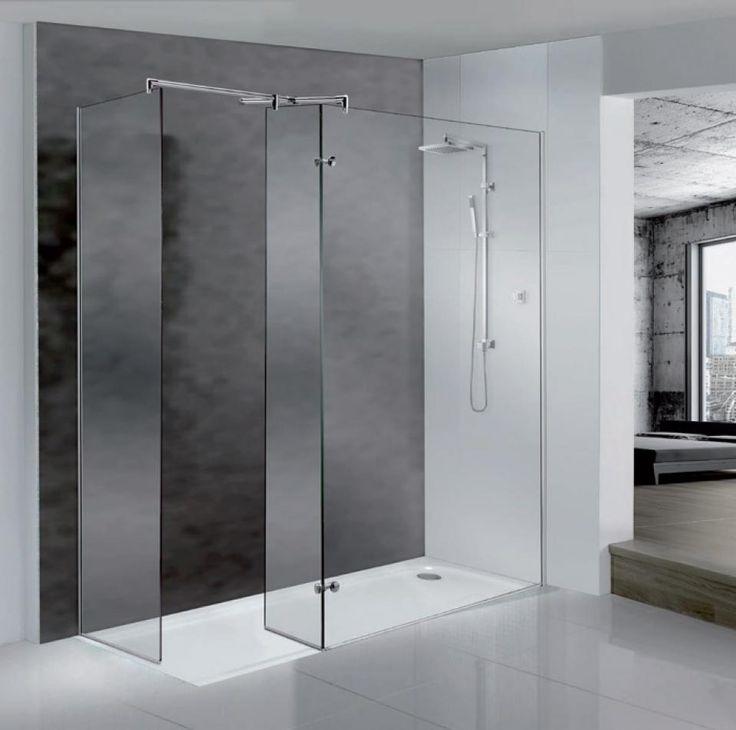 Paneles fijos y abatible cristal transparente mamparas - Paneles para banos ...
