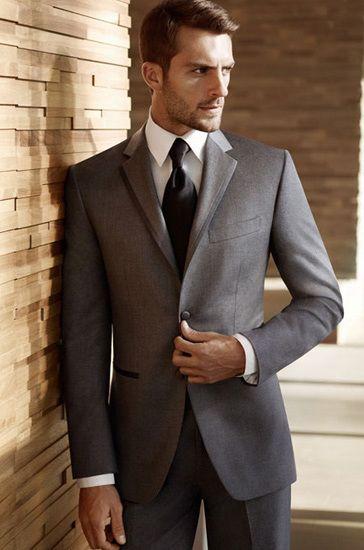Dark gray for the groom