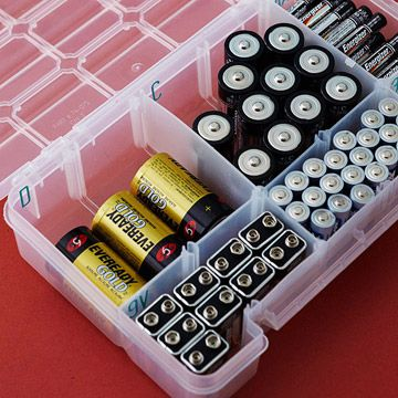 Organize Your Batteries: Reposition the dividers in a crafts or hardware caddy to fit different types of batteries. Label sections with letter and number stickers.