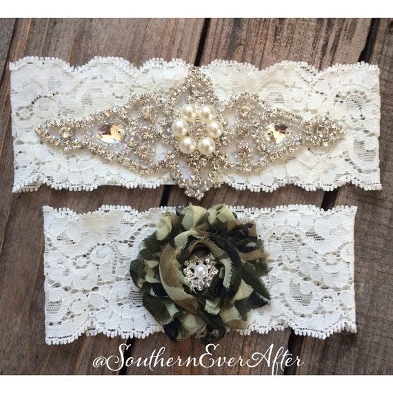 PEARL and CAMO Garter Set / bridal garter/ by SouthernEverAfter, $39.99