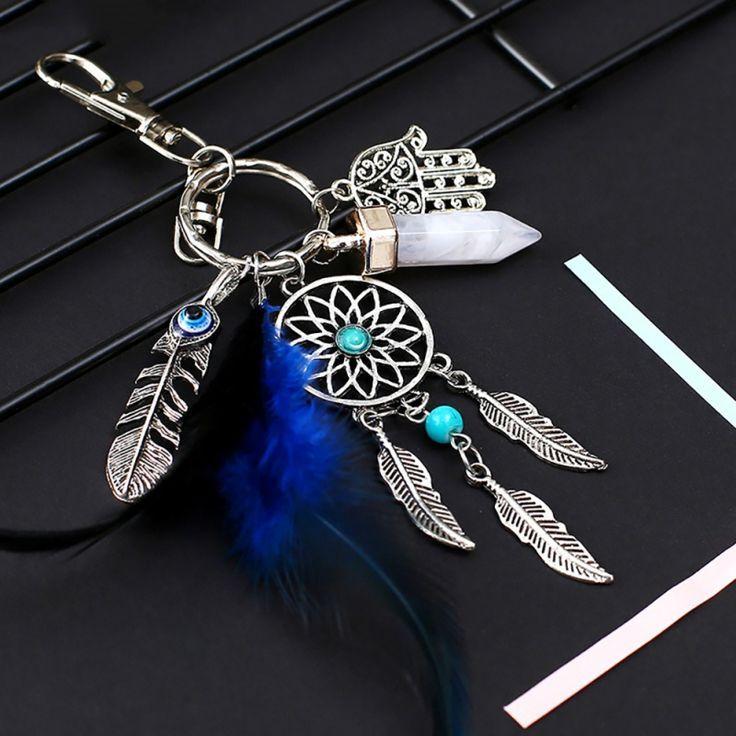 Silberfarbiger Traumfänger Schlüsselanhänger Amulett Riano mit Türkis Stein … – ANjAS-SHOP – Traumfänger, Schmuck und Modeschmuck