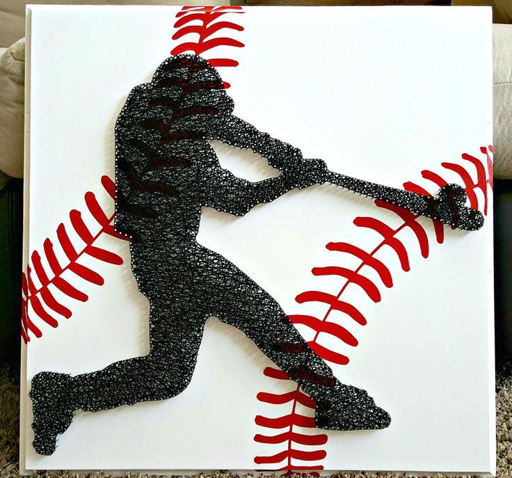 """20"""" x 20"""" Baseball batter string art"""