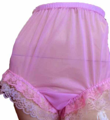 CLICK IMAGE TWICE FOR PRICING AND INFO :) #women #panties #lingerie #briefpanties #intimates #undergarment see more granny panties at http://zpanties.com/category/panties-categories/granny-panties/ - Granny Pink Panties Pinup Silky Nylon Double Lacy Knickers X-Large Hip 36″ – 40″ « Z Panties
