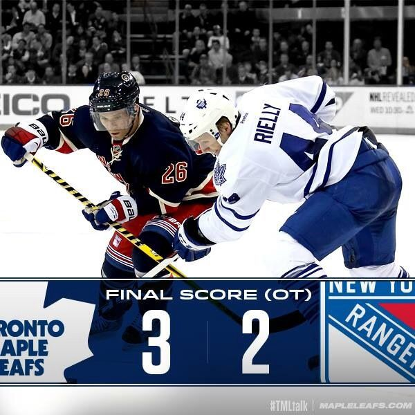 Leafs win 3-2 in NYC over the Rangers