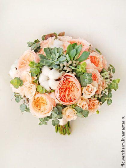 Кремовый букет невесты из пионовидных роз. Handmade.