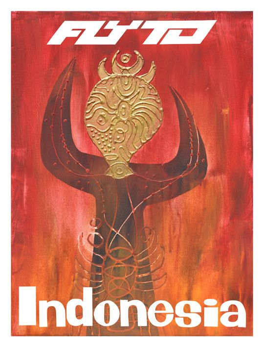FLY TO INDONESIA 1960s Travel Poster