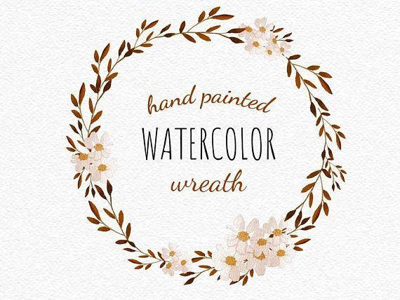 Watercolor Fall Wreath Clipart Black And Brown Floral Frame Etsy Wreath Watercolor Fall Watercolor Paper Texture Background Watercolors