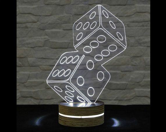 3D LED Lamp, Dice Shape, Office Decor, Desk Lamp, Home Decor, Acrylic Lamp, Decorative Lamp, Nursery Light, Amazing Effect by ArtisticLamps