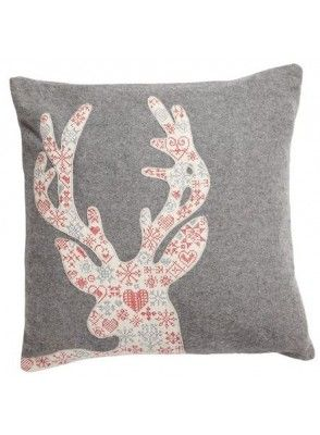 Pillow w deer embroidery - Nordic Bliss