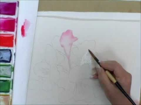 How to Paint Flowers in Watercolor - Creating Graded washes on Flower Petals - YouTube