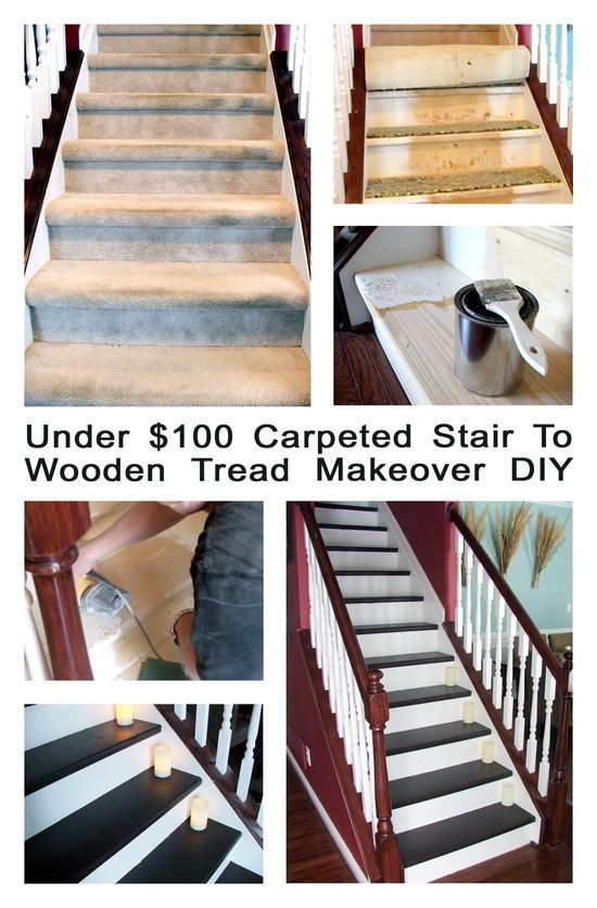 Under 100 Dollar Staircase Makeover: Carpet To Wood Treads Tutorial! This  Is AWESOME!