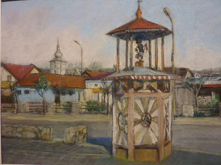 ŁĄCKO Rynek {stara  figurka sw.Floriana na studni}                               autorstwa Janusza  Kyrcza