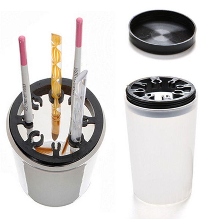 1 pc Nail Art Manucure Brosse de Nettoyage En Plastique Titulaire Cas UV Acrylique Gel Stylo Nettoyant Tasse Equiement Bouteille Avec 8 trous