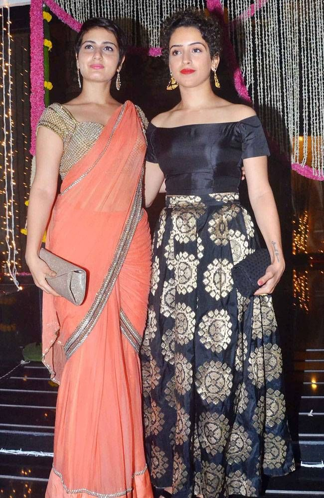Fatima Sana Shaikh and Sanya Mahlotra at Aamir Khan's Diwali bash in Mumbai. #Bollywood #Fashion #Style #Handsome #Ethnic