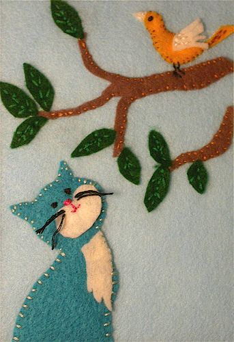 ♒ Enchanting Embroidery ♒  kitty and bird - felt and embroidery