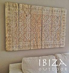 Wandpaneel woonkamer (Ibiza Outdoor) Tags: bank hout woonkamer hangemaakt teakhout muurversiering muurbedekking wandpaneel