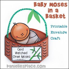 Baby Moses Printable Envelope Craft from www.daniellesplace.com