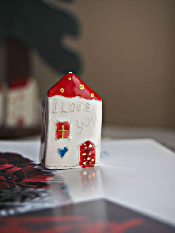 Red Christmas ceramic house  I LOVE YOU  by VitezArtGlassDesign