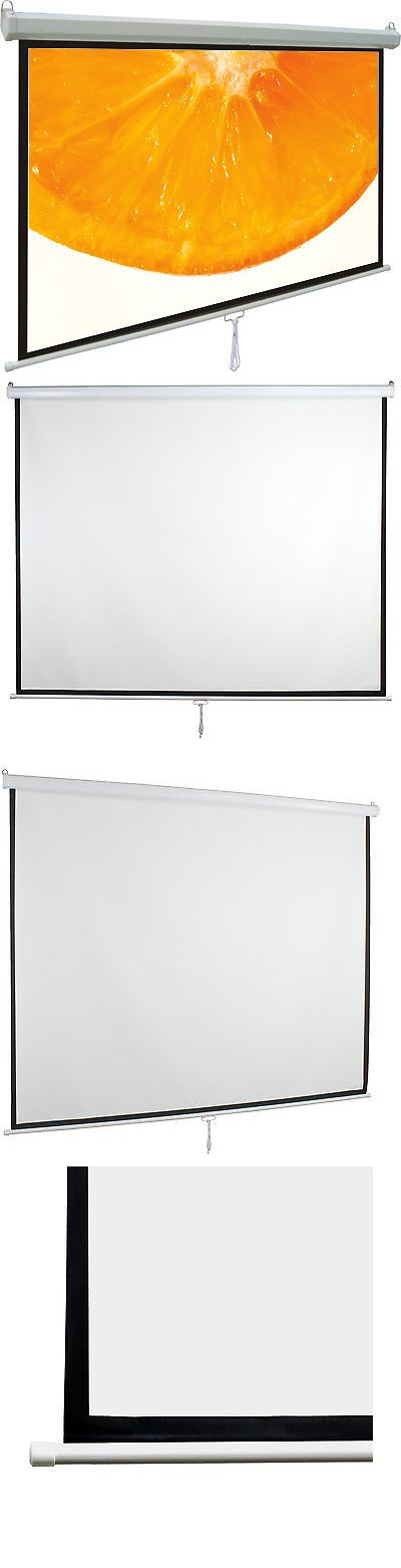 Projection Screens and Material: 80 Projector Screen 16:9 Projection Hd Manual Pull Down White Home Theater Vivo -> BUY IT NOW ONLY: $58.99 on eBay!