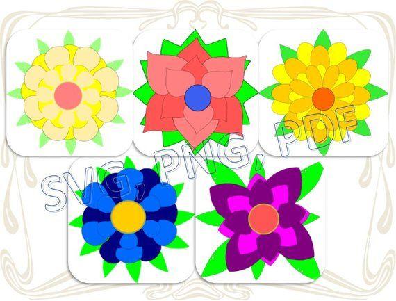 Set Of 3d Svg Paper Flowers Template Felt Felting Sunflower