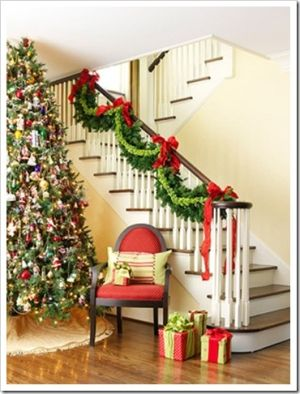 garland - I like the garland on the stairs