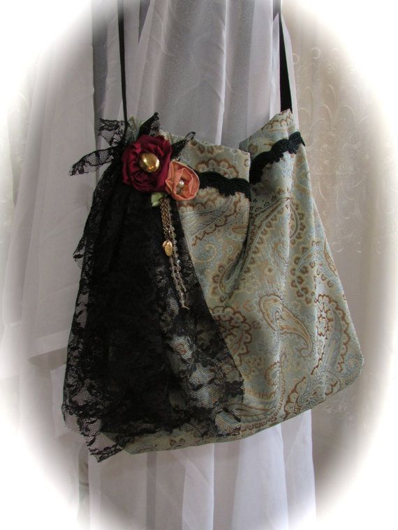 Handmade Fabric Purse, classic jacquard fabric, black lace embellished, bohemian bag gypsy bag