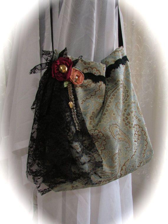 Handmade Fabric Purse, classic jacquard fabric, black lace embellished, bohemian bag gypsy bag