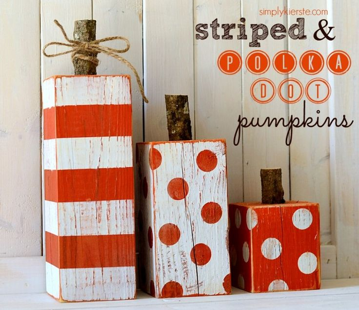 Striped & Polka Dot Pumpkins...made from a 4x4 post!  Super easy, inexpensive and SO cute!! Perfect for fall, Halloween, and Thanksgiving! #falldecor #halloween #simplykierste {simplykierste.com}