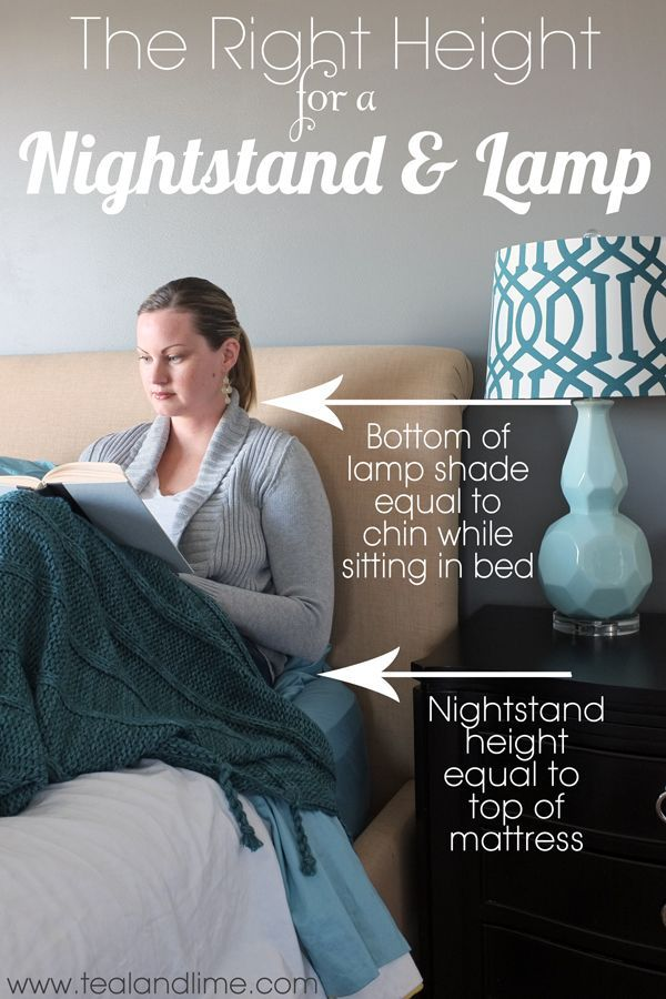 Finding the Right Height for a Nightstand and Lamp First, your nightstand should be about the same height as the top of your mattress, give or take a few inches. Ideally, err on the higher side.  Then, when choosing a lamp, you want the bottom of the shade to be about even with your chin level when sitting up in bed. That provides ideal reading and task light without glaring in your eyes.