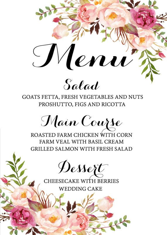 Printable wedding menu Wedding menu Floral by instanttrends