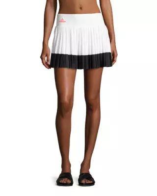 TV7VV adidas by Stella McCartney Pleated Performance Tennis Skirt, White/Black