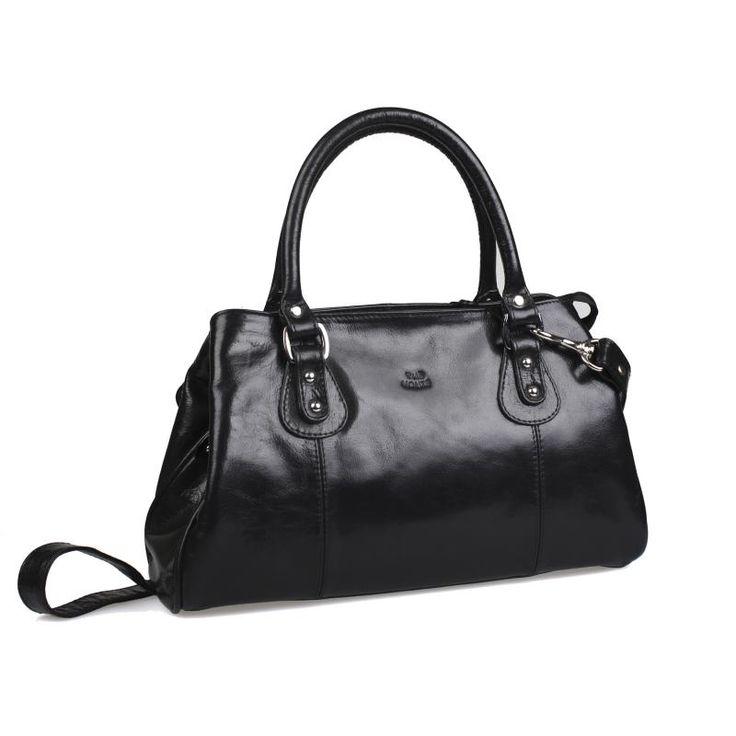 Handväska skinn The Monte svart 52022