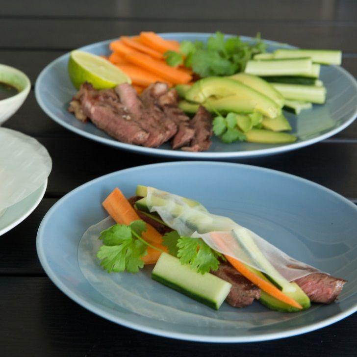 Asiatiske rispapirruller med grønt