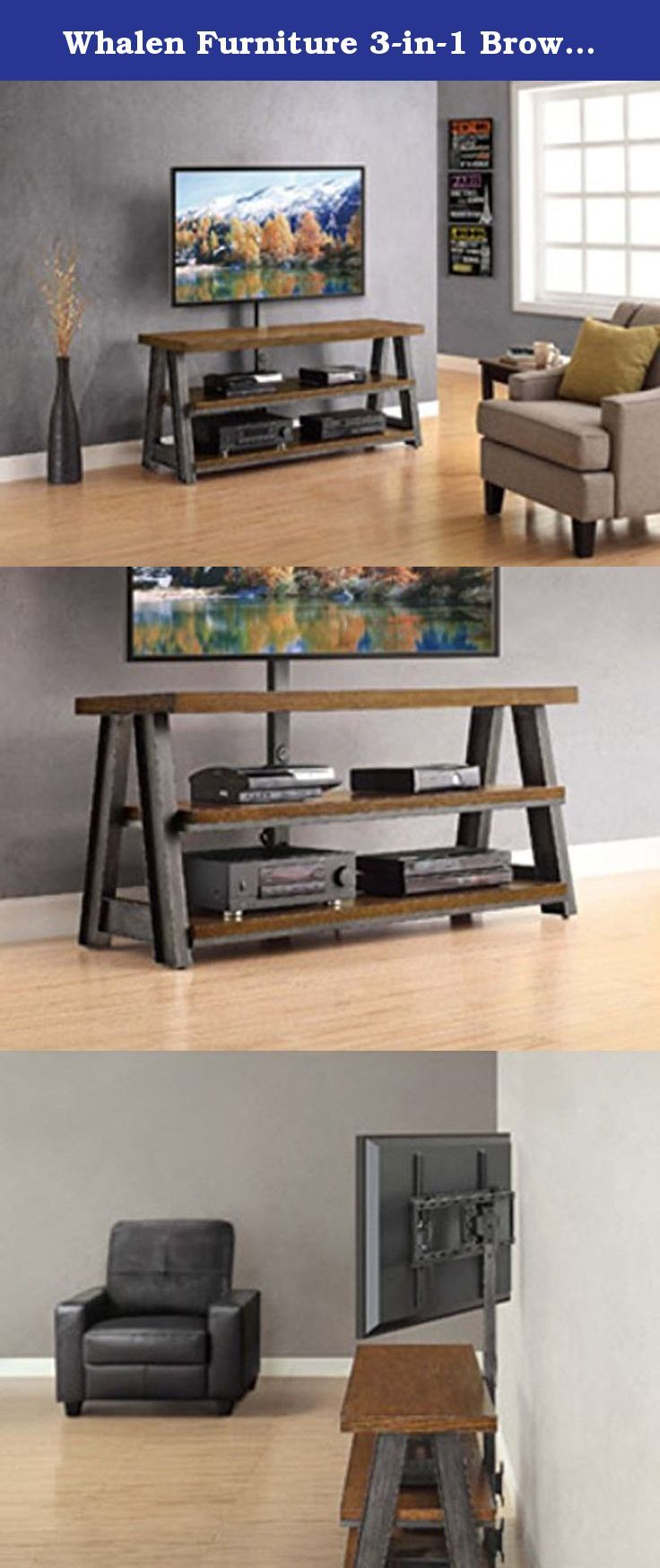 """Whalen Furniture 3-in-1 Brown Tv Stand for Tvs up to 70"""". Add rustic charm and modern function to your home theater with the Better Homes and Gardens Mercer 3-in-1 TV Stand. Featuring hand-finished metal frame and brown ash veneer shelves, this unit is the perfect solution for your 70-inch flat panel TV. The patented 3-in-1 feature allows you to incorporate your TV as a tabletop, swinging floater or wall mount. The included 2.0 USB hub offers easy accessory integration. The tilt and…"""