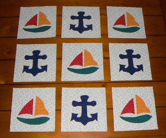 9 Nautical Sailboat And Anchor Quilt Blocks By