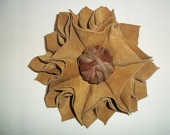 Blode real suede leather flower brooch with suede leather center