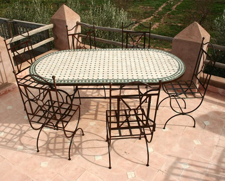 Table zellige ovale 180/90 + 6 chaises TINA