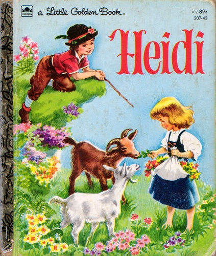 """Heidi"" Little Golden Book, Adapted by Johanna Spyri, Illustrations by Corinne Malvern, 1954-1982 