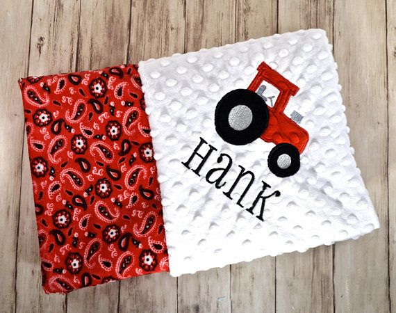 198 best baby gifts moonbeam minky images on pinterest personalized minky baby blanket monogrammed red bandana cowboy farmer tractor blanket with name newborn gift gender neutral black white negle Choice Image