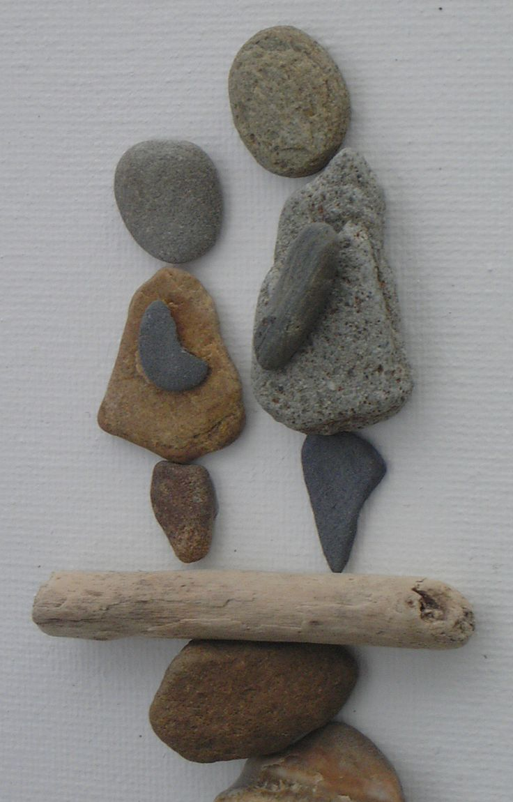 Pebbles and driftwood on canvas...