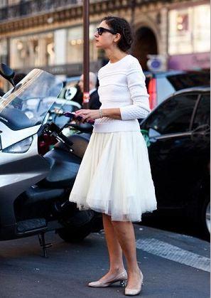 白のチュールスカート着こなしコーデ