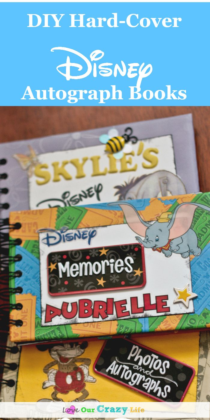 Super cute DIY Disney Autograph Books with Hard Covers!!! Great tutorial for a personalized autograph book for your Disney vacation. via @thebeccarobins