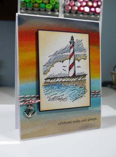 Lighthouse at Sunset by HB - Cards and Paper Crafts at Splitcoaststampers. Like the watercolor background with lighthouse