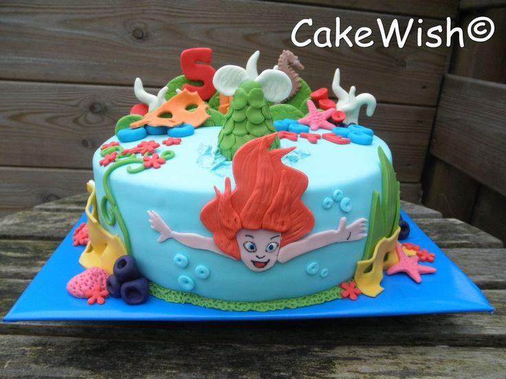 Ariel taart voor de 5e verjaardag van Marte. Onderwater, zeemeermin, zeepaar, zeester, mermaid, birthday cake, Cakewish